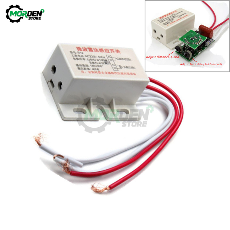 AC 220V 50Hz Adjustable time delay Microwave Radar Sensor Switch Auto Infrared PIR Human Body Motion Sensor Module Light Switch