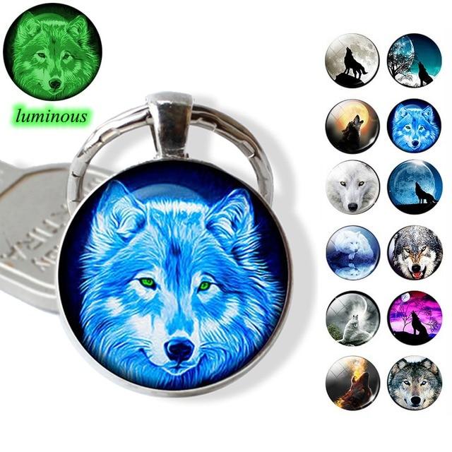 Glow In The Dark Wolf Key Chain Key Rings Holder Luminous Wolf Head Keychain Men Jewelry Gift