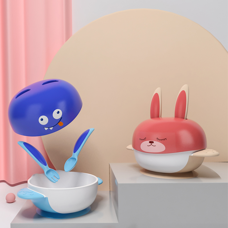 Sucker Bowl Bunny Sucker Baby Dish Spoon Fork Food Container Tableware For Baby Kids Training Dishes BPA Free