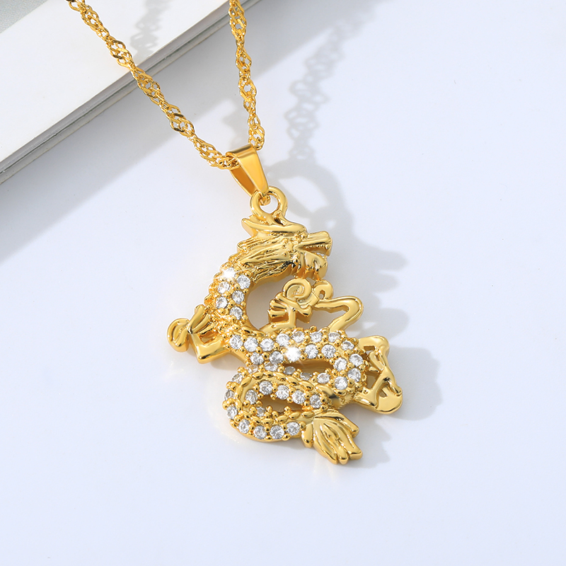 CZ DragonNecklace for Women Men Gold Color Pendant Jewellery Ornaments Lucky Symbol Gifts Cubic Zirconia Mascot Wholesale