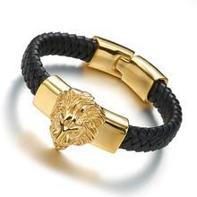 New Punk Style Genuine Leather Charm bracelet men fine jewelry men stainless steel Lion Eagle bracelets bangles male femme все цены