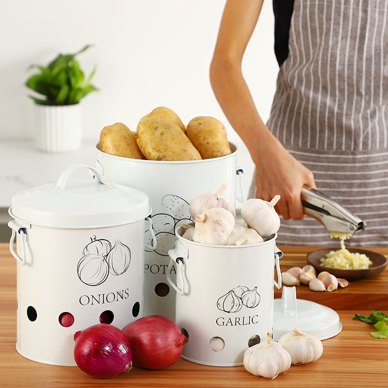 Breathable Kitchen Container Set and Food Storage Bins with 2 Handles for Storing Potatoes and Onions 1