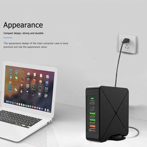 "Image 3 - שולחן העבודה מטען רב יציאת טלפון מטען 75W QC3.0 פ""ד מחשב נייד Tablet כוח מתאם Dock האיחוד האירופי/USPlug"