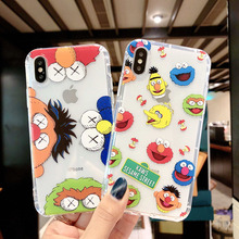 Transparante Leuke Cartoon Sesamstraat Telefoon Case Voor Iphone X Xr Xs Max 8 7 6 6 S Plus Lot soft Cover Luchtkussen Anti Vallen