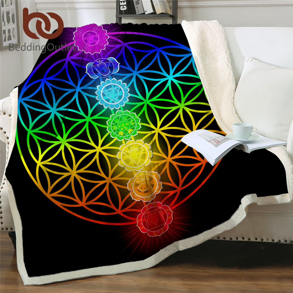 BeddingOutlet Chakra Fluffy Blanket Zen Theme Bed Blankets Colorful Custom Blanket Geometric Plush Bedspread Flower Of Life Koce