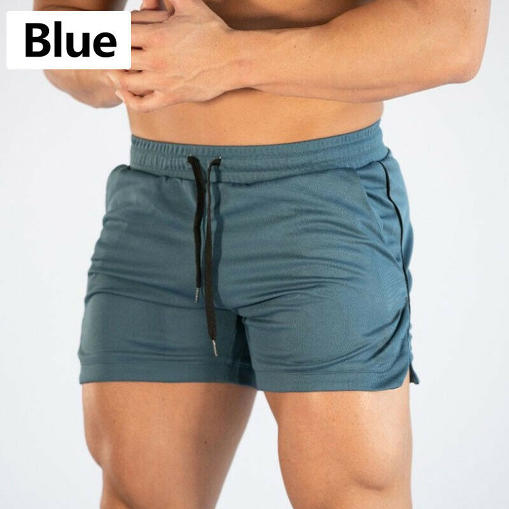 Summer Gyms Workout Male Breathable Mesh Quick Dry Sportswear Jogger Beach Solid Shorts Men Fitness Bodybuilding Shorts 9