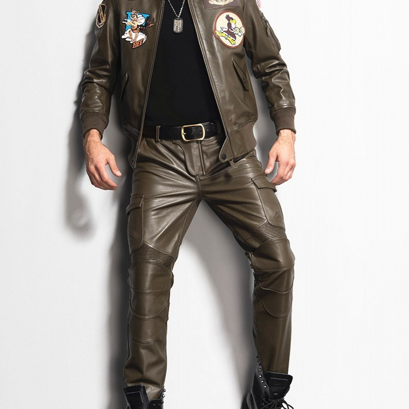 Top Quality Men Genuine Leather Skinny Pants Motorcycle Biker Slim Fit Trousers Male Pockets Full Length Spring Pantalon Hombre