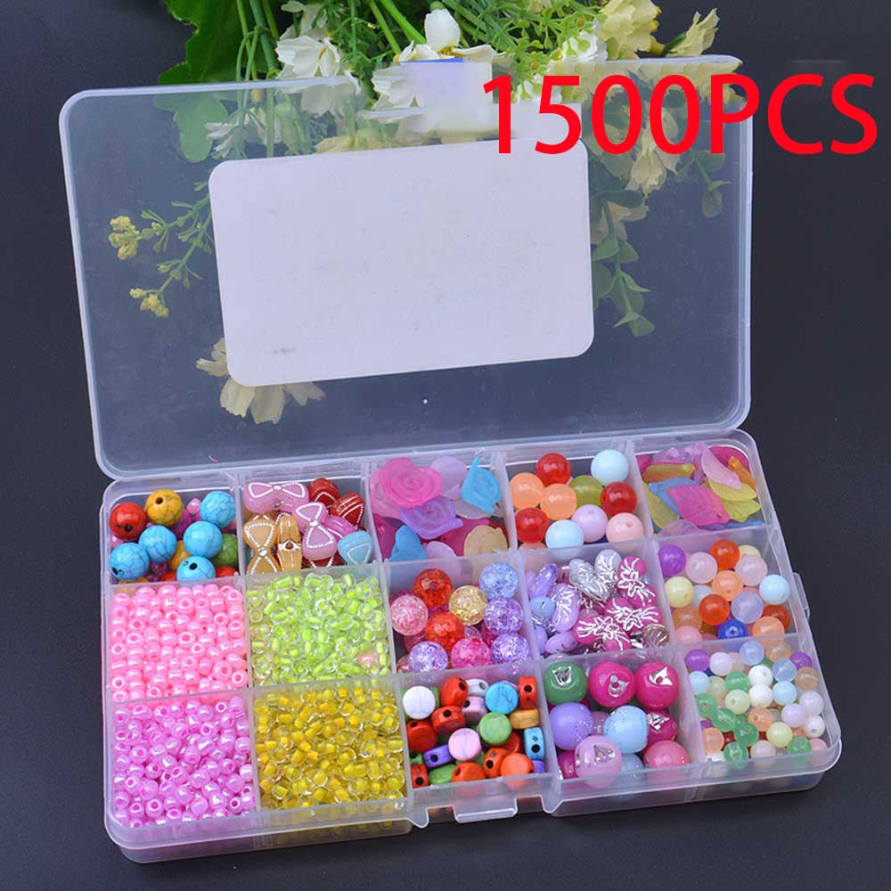 15 Grid Kids Girls 340Pcs-1500Pcs Colorful Acrylic Beads Set For Jewelry Making DIY Craft Bracelets Necklaces Educational Toys
