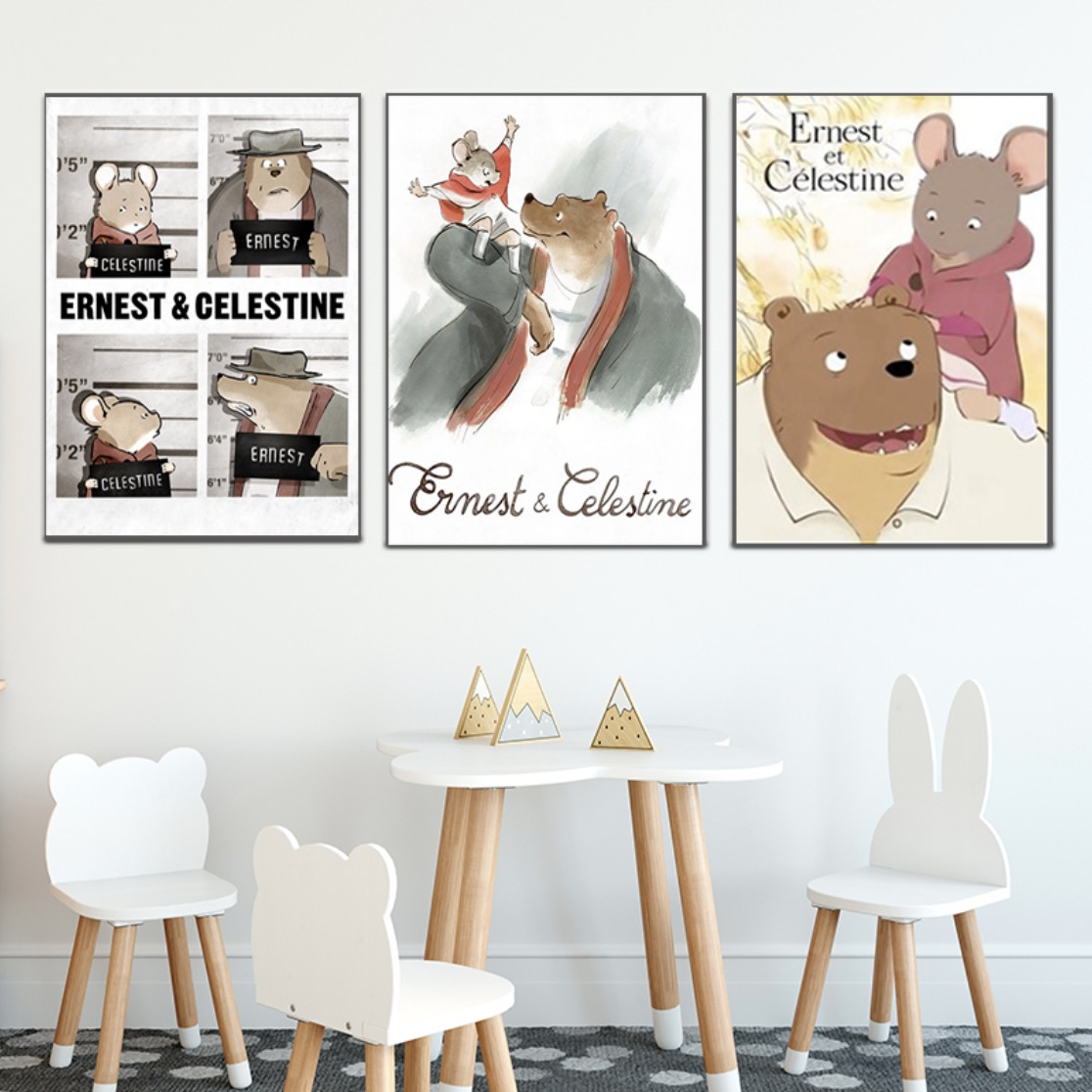 Ernest And Celestine French Anime Cartoon Kids Room Decorative Poster Wall Canvas Sticker Home Decor Gift Painting Calligraphy Aliexpress