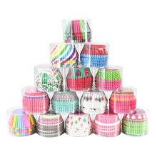 100 pçs/lote Muffin Cupcake Mould Forma Multicolor Rodada Copos de Silicone Bolo Moldes Bakeware Tray Fabricante de Moldes Baking Copa Forro
