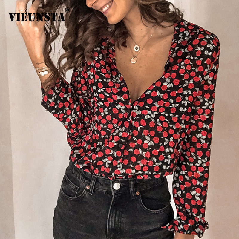 2020 Spring V-neck Floral Print Vintage Top Plus Size Buttons Ladies Office Shirts Women Long Sleeve Streetwear Blouses Feminina