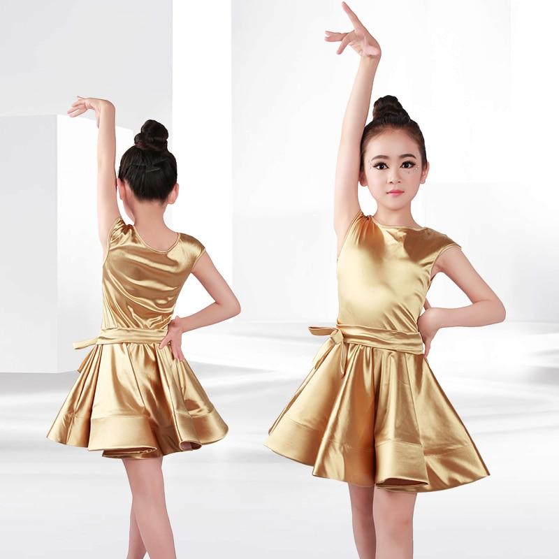 New Girls Latin Dance Dresses Children Ballroom Dance Costumes Rumba Samba Shiny Satin Performance Dancewear