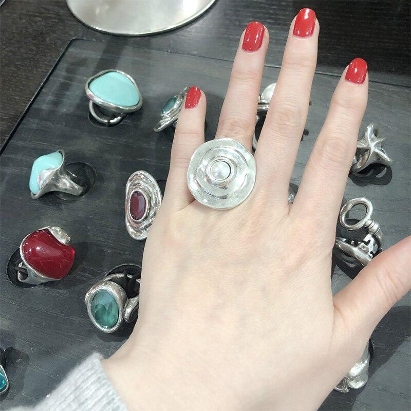 XIYANIKE 925 argent Sterling français INS tendance marque exagérée grande perle ronde irrégulière anneau femme mode créativité cadeaux 2
