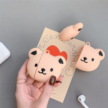For AirPod 2 Case 3D Cute Bear Cartoon Soft Silicone Wireless Earphone Cases Apple Airpods Cover Funda
