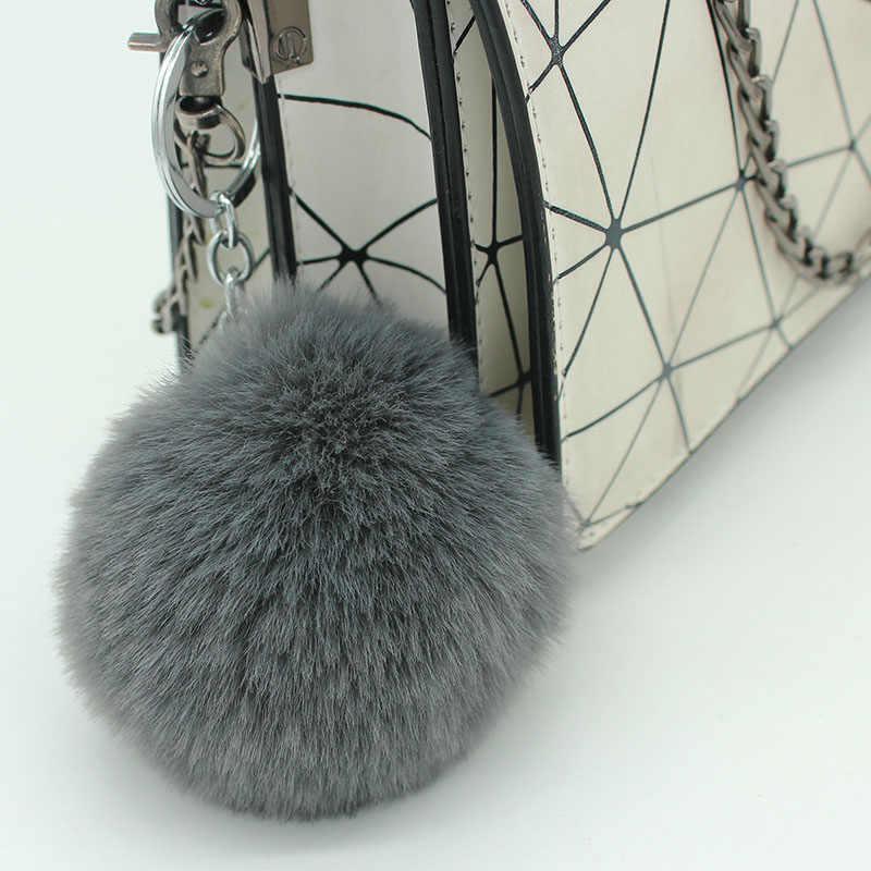 ISINYEE موضة ندفة الثلج بوم بوم كرة لينة المفاتيح النساء حقيبة سيارات وهمية ريكس الأرنب الفراء منفوش Pompom سلسلة مفاتيح كيرينغ قلادة