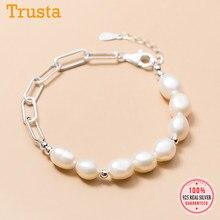 Trustdavies-pulsera de perlas barrocas asimétricas para mujer, de lujo, Plata de Ley 925, joyería fina S925 DA1775