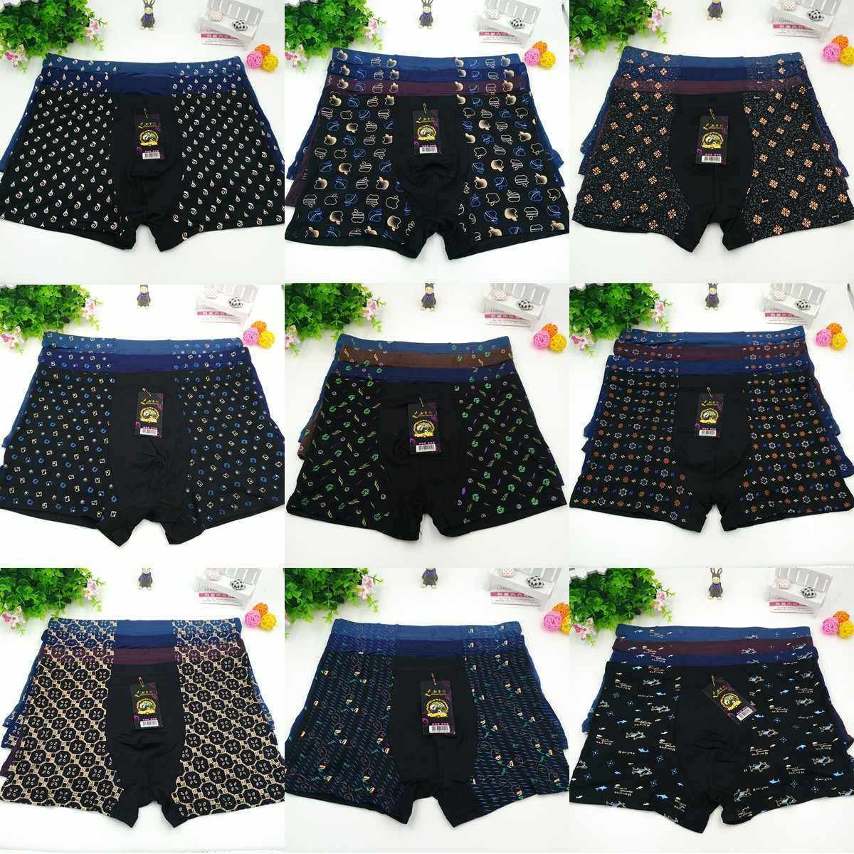 Boxer Mens underwear Man Polyester Underpants Male Print Men Panties Shorts Underwear Boxer Shorts 2XL to 7XL