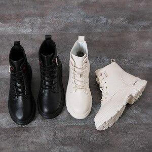 Image 4 - Nowy 2020 kobiet botki PU skórzane sznurowane jesienne buty zimowe kobieta kliny buty krótkie damskie damskie Botas SH09061