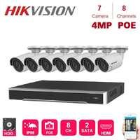 8Channels Hikvision POE NVR Video Surveillance Kits with 7PCS 4MP IP Camera Network Night Vision CCTV Security System Kit