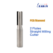 2 Flutes Diamond Straight Router Bit PCD End Mill T Slot Milling Cutter for CNC Router Machine Furniture Woodworking Tool