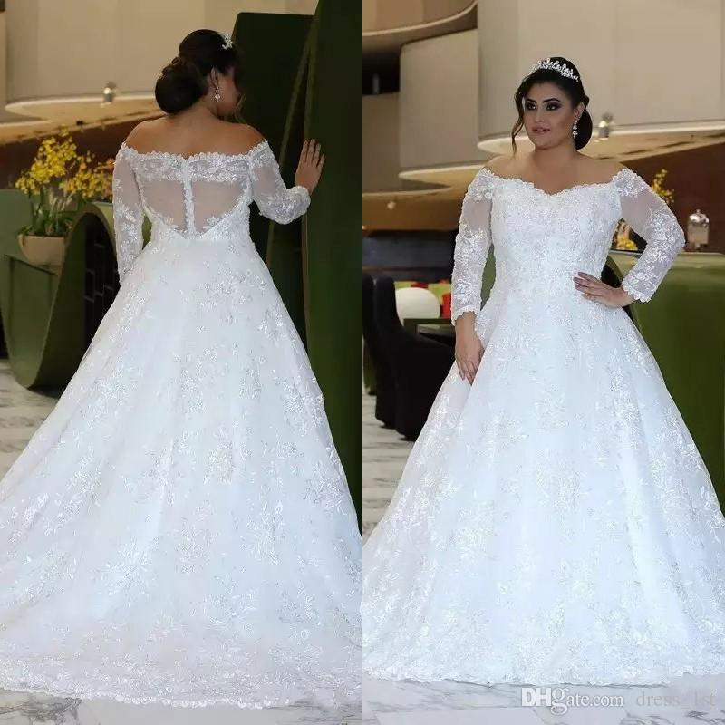 Top Quality Plus Size Wedding Dresses Long Sleeve Off ...