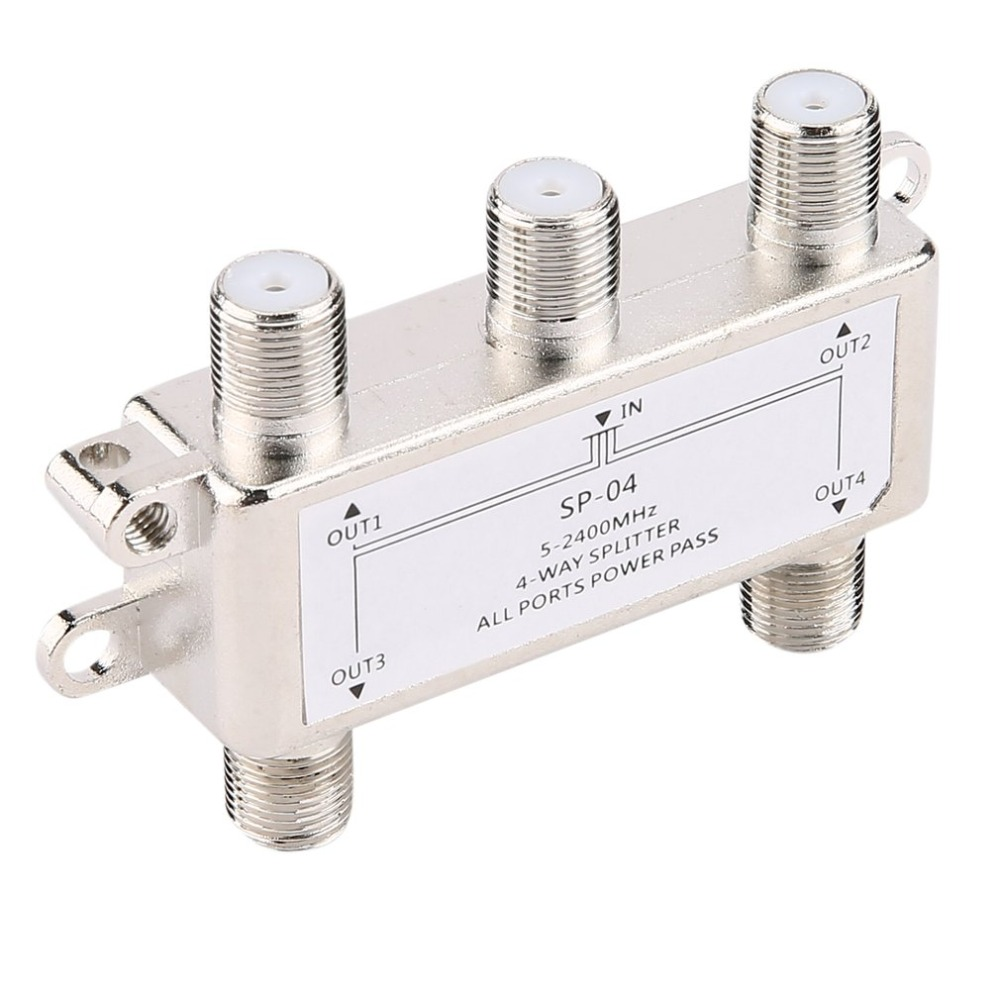 4 Way 4 Channel Satellite/Antenna/Cable TV Splitter Distributor SP-04 5-2400MHz F Type Wholesale In Stock Drop Shipping