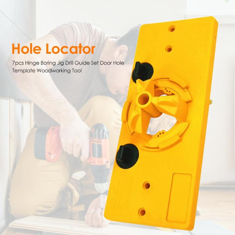 7pcs Door Hole Template Hinge Boring Jig Drill Guide Set Engineering Plastic Easy To Operate Woodworking Hand Tool