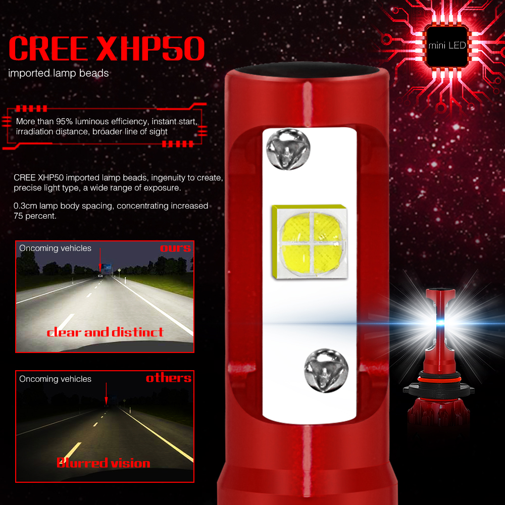 2Pcs/Set MINI 7 LED Headlight H1 H4 H7 H11 9005 9006  Car Headlight Bulbs 6000K 60W Led Automotivo Light 12V 24V