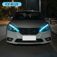 Luces LED de circulación diurna para coche, tira Flexible e impermeable, intermitente, color blanco, amarillo, flujo de freno, DRL, 2 uds.
