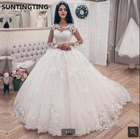 New arrival Lace Applique Long Sleeves Ball Gown Wedding Dresses long sleeve hollow back sexy corset cheap bridal gowns hot sale