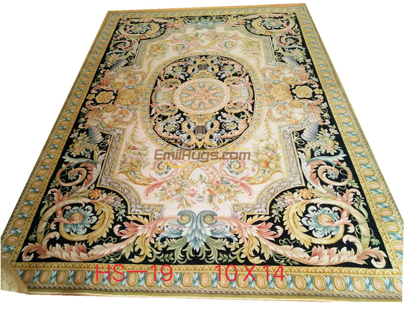 Persian Carpet European Living Room Sofa, Tea Table, Bedside Blanket For Family Bedroom Blue With Red Flowers.