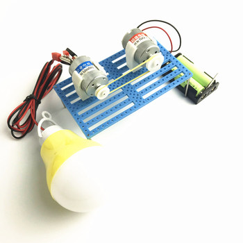 DIY Handmade Motor Electricity Generation Gear Model Parts with Lamp Hand Generator Model Scientific Experimental Equipment wooden hydraulic excavator model handmade scientific experiments steam