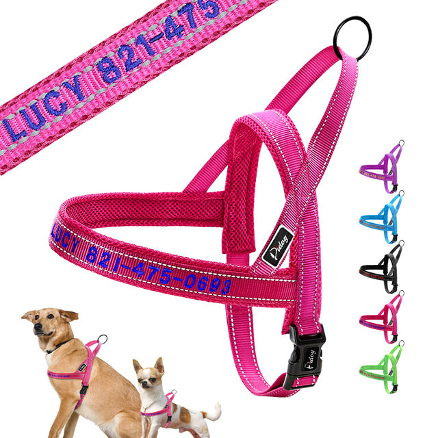 No Pull Custom Dog Harness Collar Nylon Mesh Embroidery Pet Harness Vest Adjustable For Small Medium Large Dogs Chihuahua Yorkie