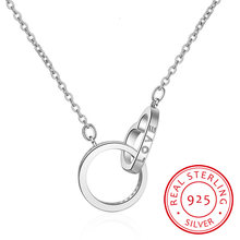 925 Sterling Silver Double Circle Love Heart Cz Zirconia Necklaces & Pendants For Women Gift Choker Collares S-n59(China)