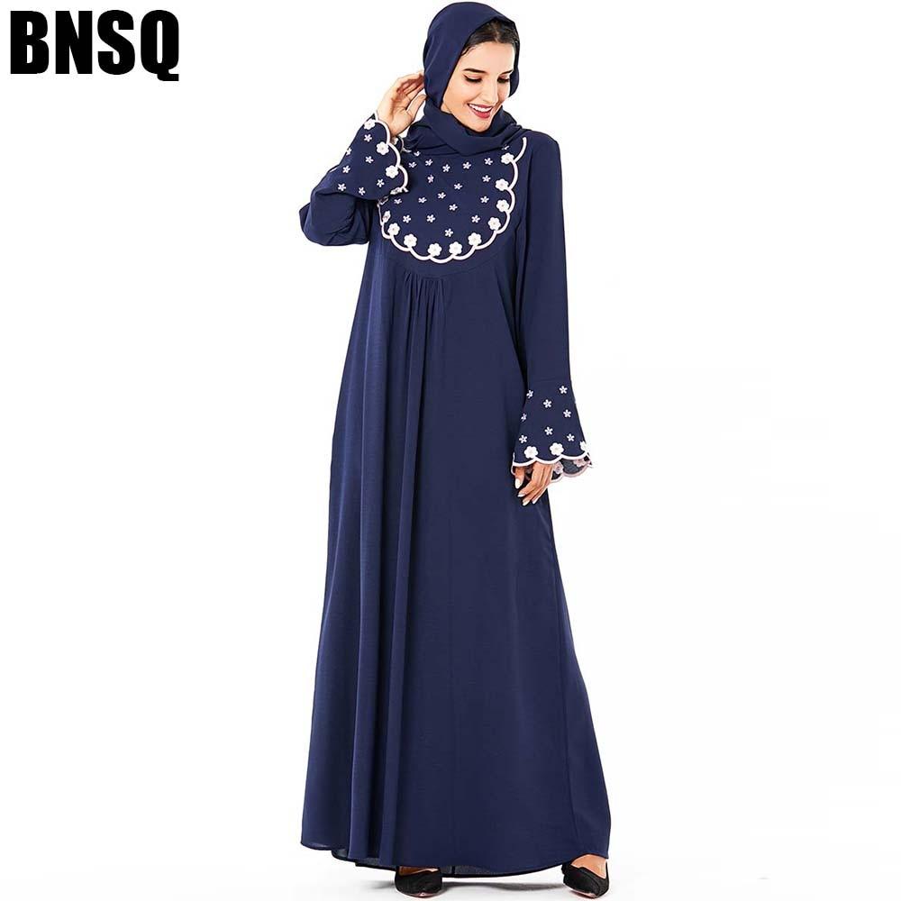 BNSQ Muslim Women Long Sleeve Hijab Dress Maxi Abaya Jalabiya Islamic Women Clothing Robe Kaftan Moroccan Fashion Embroidery