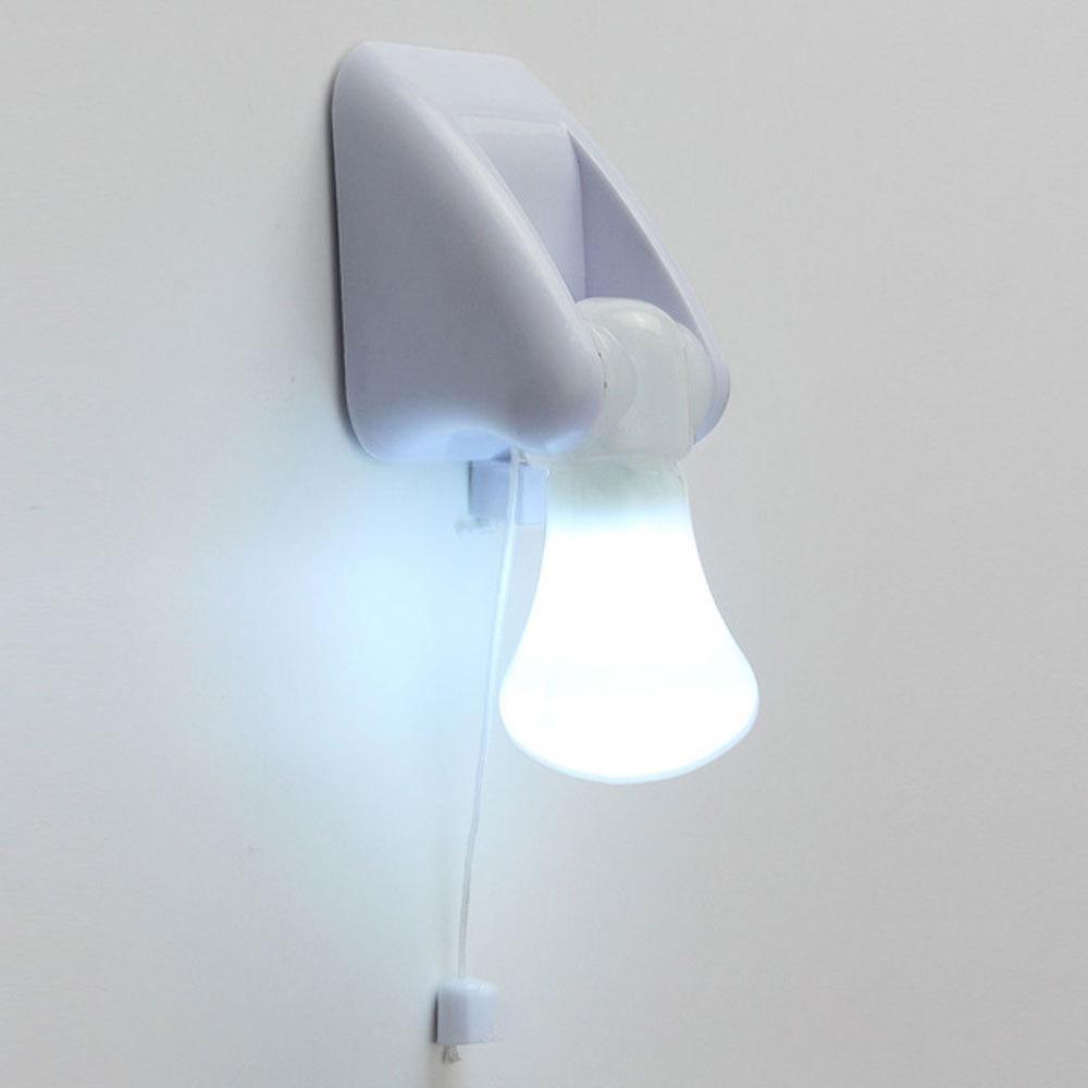 LED Bulb Cabinet Closet Lamp Pull Cord Night Lights Self Adhesive Wall Light Hallway Bedroom Lighting Battery Operated new
