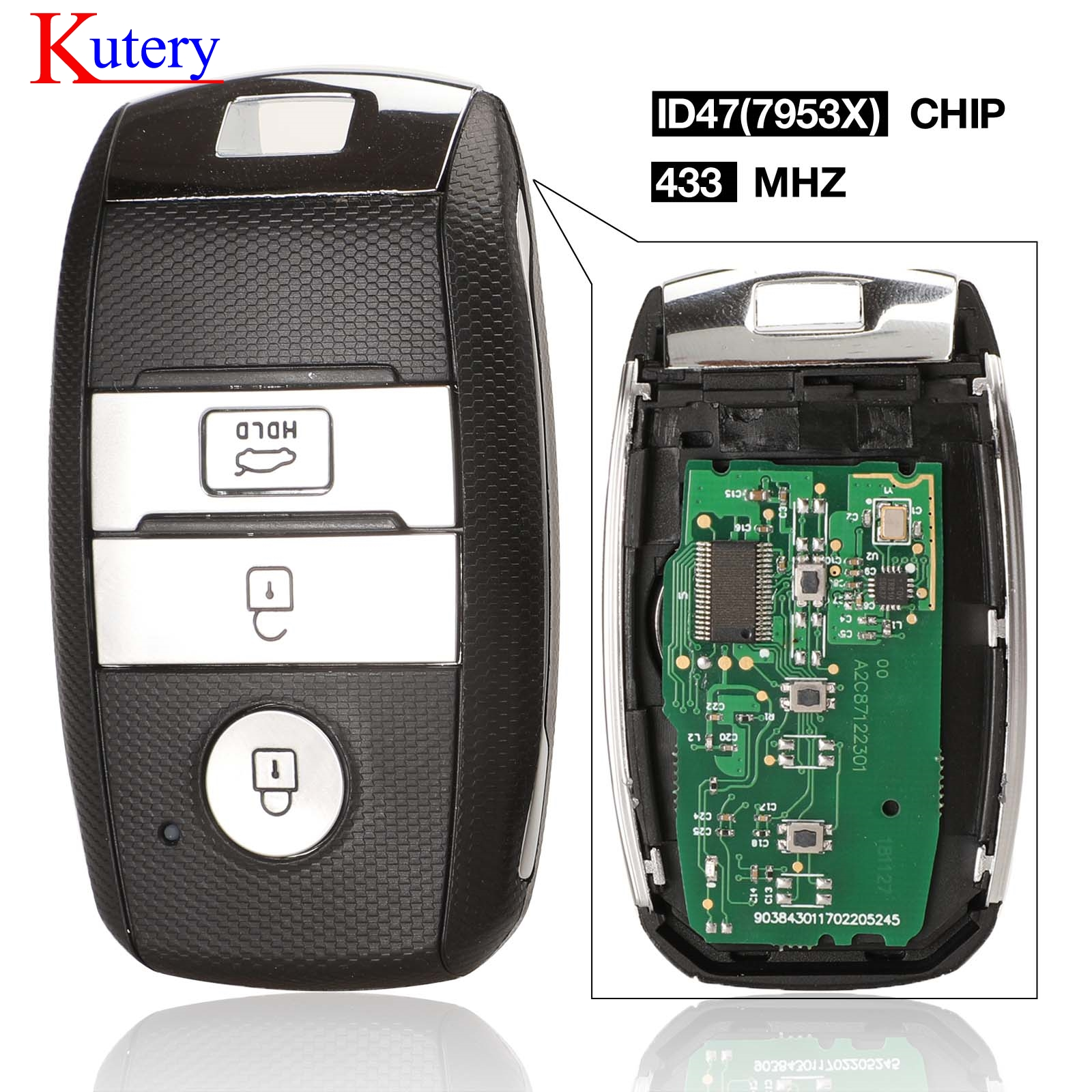 Car Smart Remote Key Control Fob Uncut 3 Buttons 433mhz ID46 Keyless Entry Fit for Kia K5 Sportage Sorento 2019