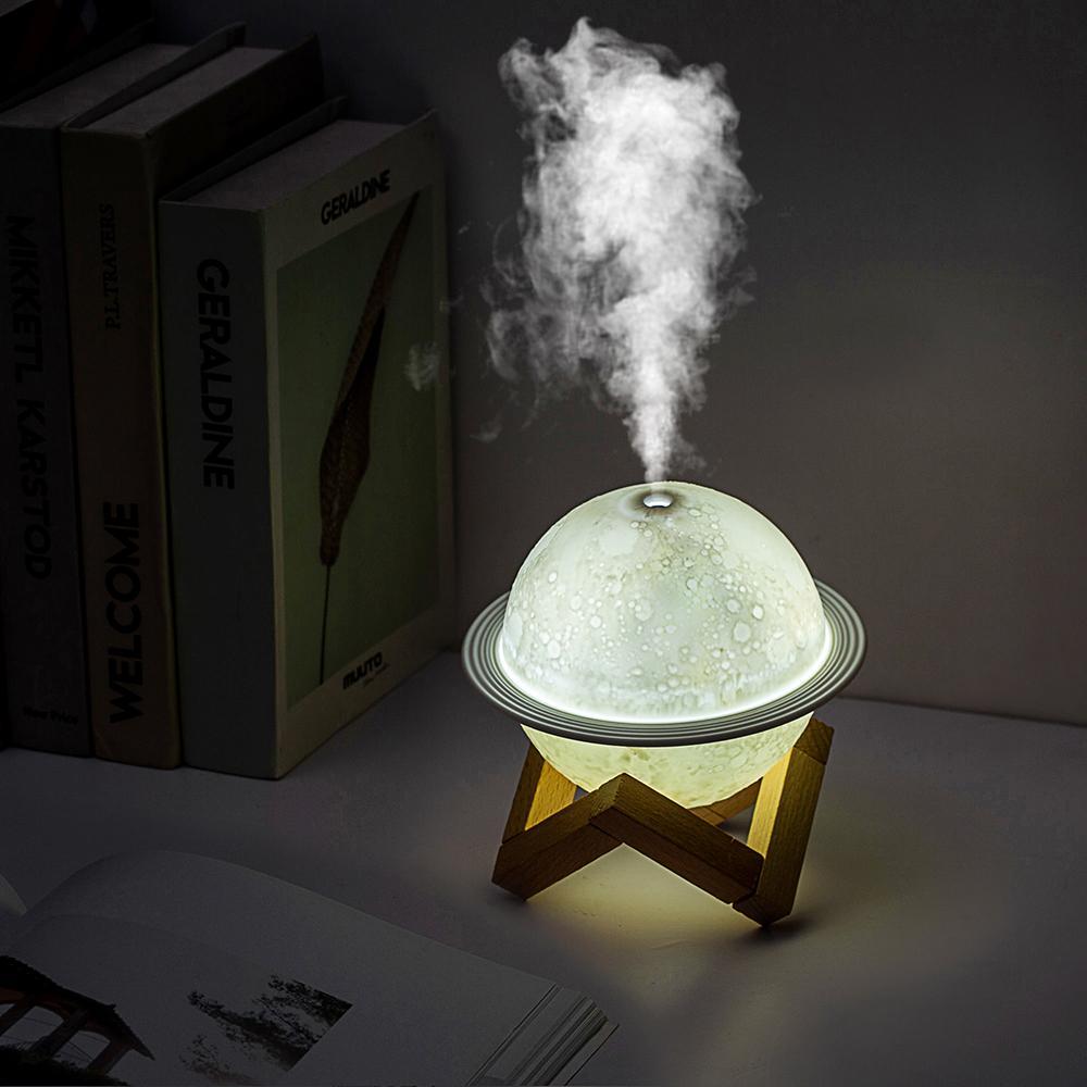 Мини USB увлажнитель воздуха очиститель воздуха увлажнитель для спальни Сатурн увлажнитель с деревянной основой 3 цвета Ночной светильник а...