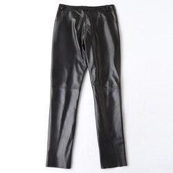 Echtes Leder Hosen Frauen Echt Schaffell Lange Hosen Plus Größe Hosen Schwarze Dünne Damen Kleidung Pantalon Femme LWL1606