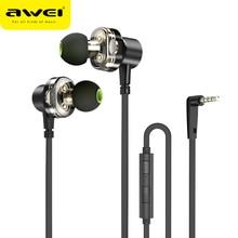 AWEI Z1 Verdrahtete Kopfhörer Dual Fahrer Headset Sport Bass Sound Kopfhörer Mit Mic Für Xiaomi Huawei Oneplus MP3 3,5mm jack Earbuds