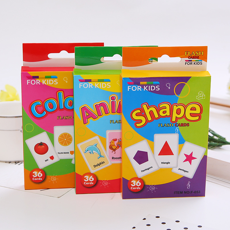English Cognitive Card Shape Animal Color English Words Book Children's Early Education Intellectual Memory Toys