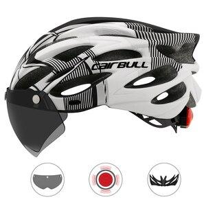 Image 2 - Casco de bicicleta de montaña moldeado integralmente con gafas extraíbles, ajustable, para ciclismo, unisex