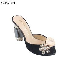 Women Sandals Shoes 2019 Luxury Genuine Leather High Heels Ladies Handmade Rhinestone Flowers Wedding Black Shoes Plus Size в п астахов бухгалтерский финансовый учет шаг за шагом учебно практическое пособие