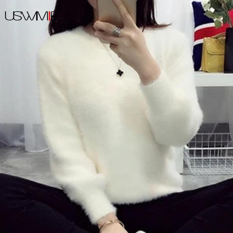 2019 Sweater Women Fashion Casual Simple Lantern Sleeve Solid Color Loose Comfort Cashmere Knitting Mohair Fur Pullover USWMIE
