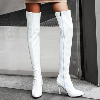 BONJOMARISA New Plus Size 34-45 Ins Sexy White Over The Knee Boots Women 2020 Thin High Heels Thigh High Lady Boots Shoes Woman 11