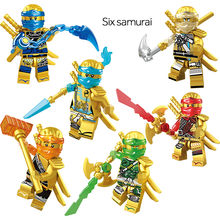 6 pièces/ensemble or Ninja guerrier Mini figurines de construction blocs de construction compatibles Legoinglys Ninjagoed briques enfants jouets pour enfants(China)