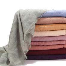 2020 Mới Đồng Màu Đồng Bằng Cotton Hồi Giáo Đầu Hijab Khăn Quàng Khăn Choàng Nữ Đen Trắng Xếp Ly Nhăn Khăn Quàng Cổ Đeo Foulard Femme