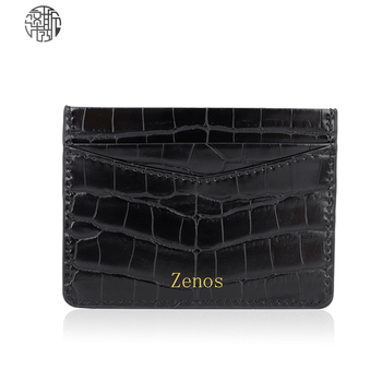 Credit Card Holder Women Man Credit Card Wallet Pu Leather Card Case Luxury Crocodile Pattern Card Case With Gold Color Logo image