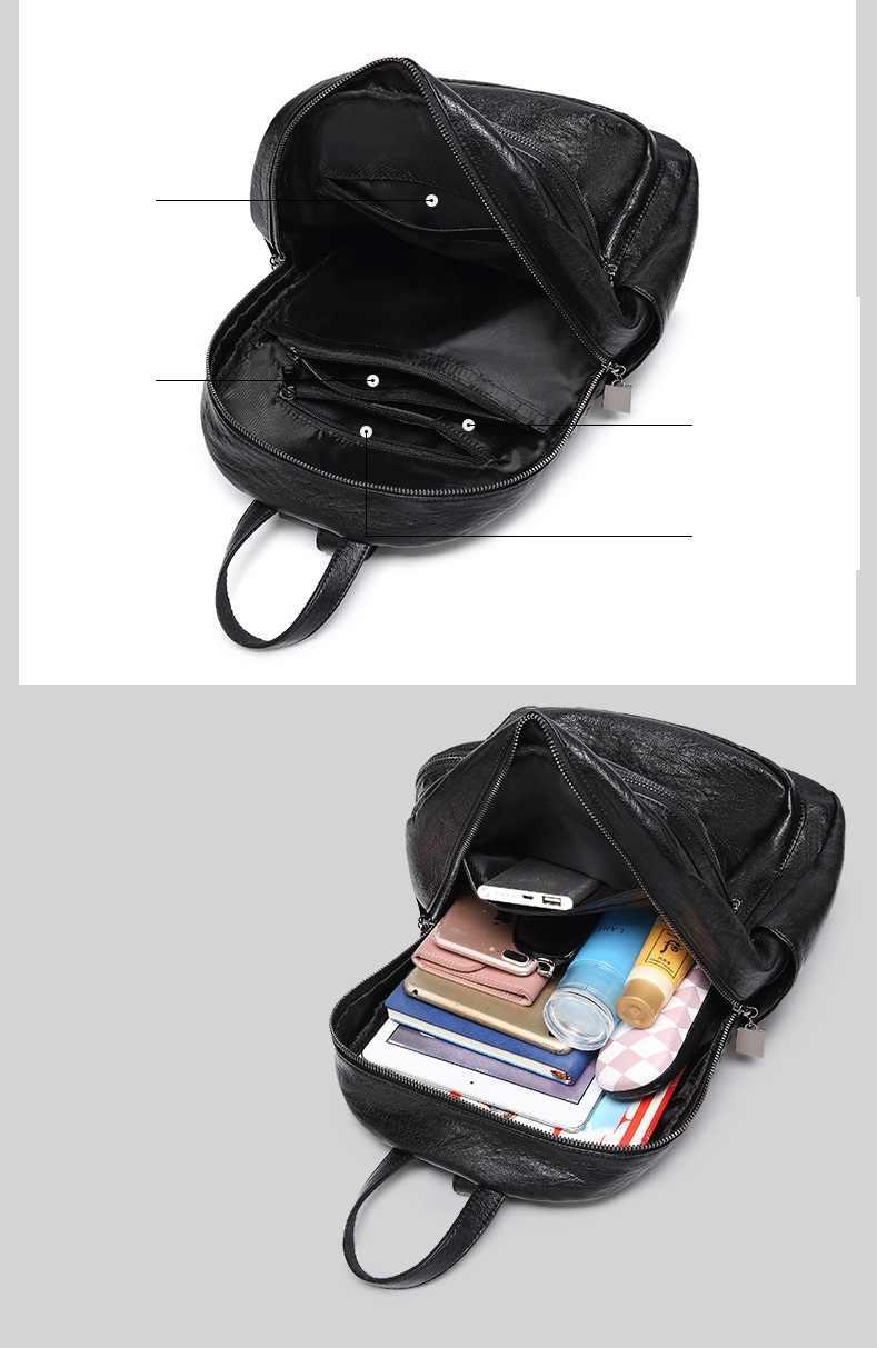 Women Leather Backpack Teenage Girls School Bag Female Vintage Large Solid Soft Backpacks