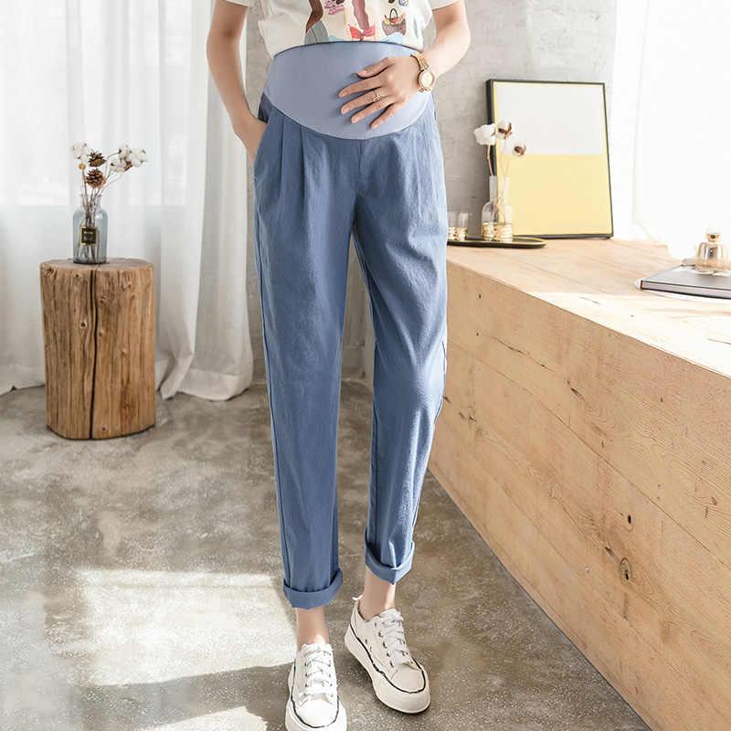 高品質綿リネンパンツカジュアル腹パンツ服妊婦ルースズボンハイウエスト妊娠パンツ
